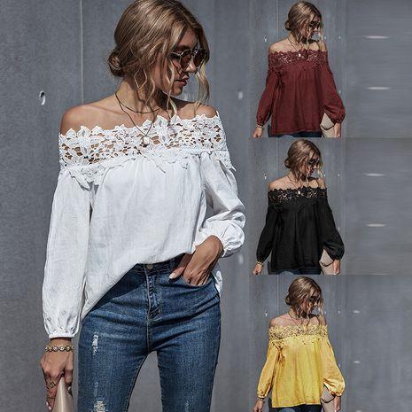 Moda otoño nuevas mujeres de encaje de costura sexy blusa de manga abullonada de un solo hombro NHDF246775's discount tags