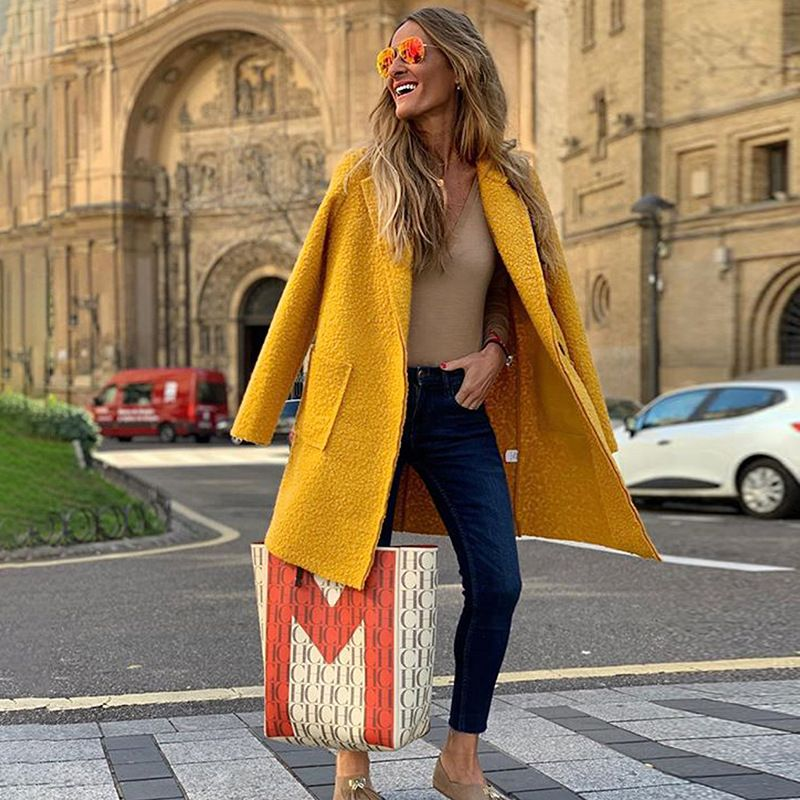 loose autumn and winter models longsleeved plush woolen coat womens long coat wholesale NHDF246791