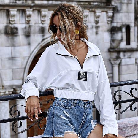 Otoño nuevo truncado casual de manga larga con cremallera suéter corto deportivo color sólido top mujeres NHDF246794's discount tags