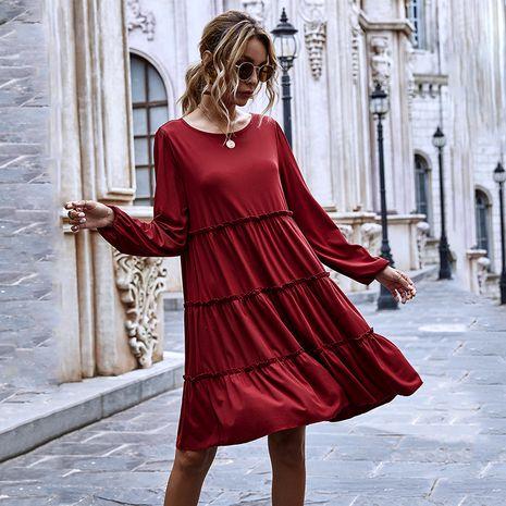 Moda otoño nuevo vestido de punto de manga larga con cuello redondo y falda con volantes grandes con volantes y costura para mujer NHDF246796's discount tags