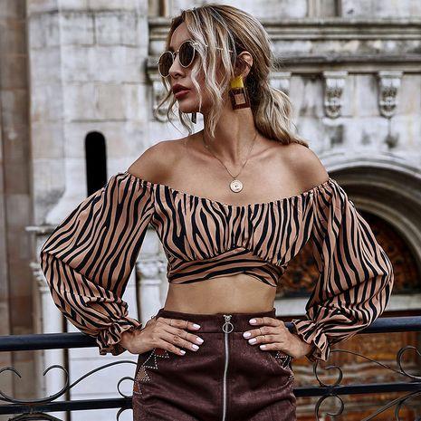 Estampado de tigre con volantes, burbuja elástica, manga larga, cintura alta, cintura cruzada, sexy, hombro corto, top NHDF246798's discount tags