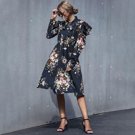 Vestido casual de moda negro floral delgado NHDF246806's discount tags