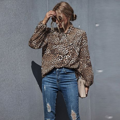 Camisa de manga larga casual de mujer suelta con estampado de leopardo de cobertura sexy de moda NHDF246807's discount tags