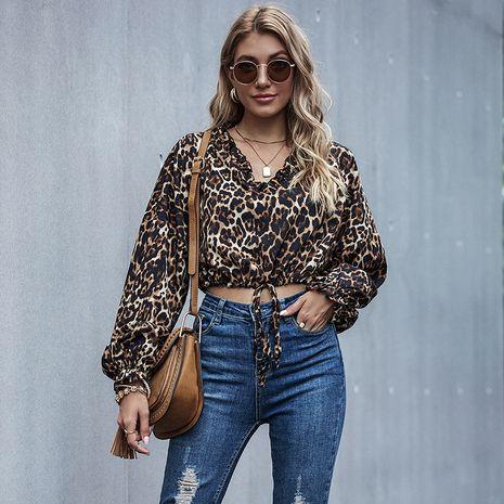 Camisa de las tapas de las mujeres del otoño con cordones del estampado de leopardo de la nueva moda NHDF246810's discount tags