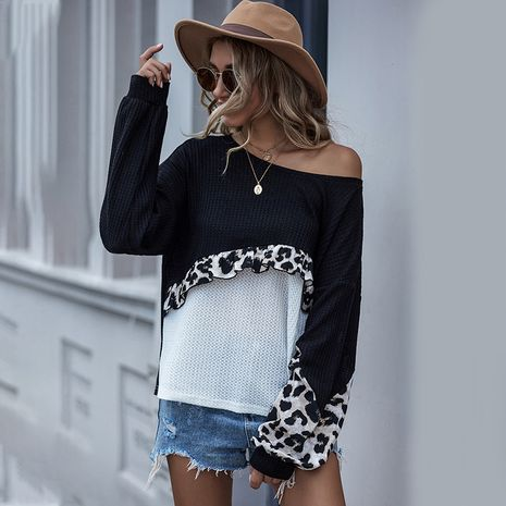 Suéter de punto de manga larga con estampado de leopardo de costura de color sólido de nueva moda de otoño NHDF246812's discount tags