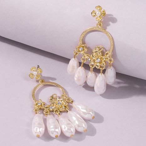 fashion  imitation pearl sweet  flower earrings NHMD247014's discount tags