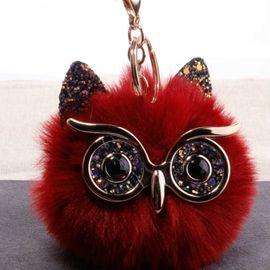 Grit owl keychain cartoon big eyes sequined owl fur bag pendant  NHDI246824