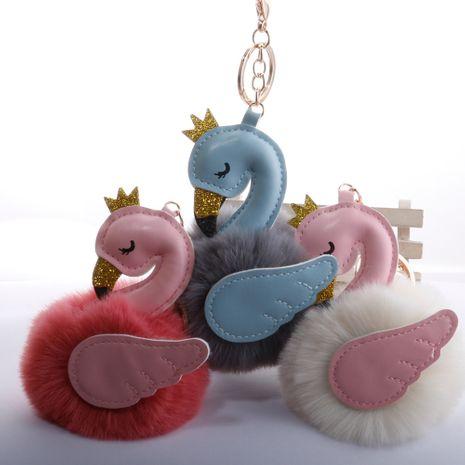Lindo PU cisne 8 cm llavero de bola de piel imitación rex bola de piel de conejo flamingo bolsa colgante de llave de coche al por mayor NHDI246825's discount tags