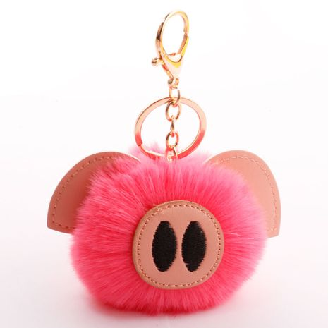 bola de pelo lindo cerdo bola de pelo llavero PU piel animal felpa llavero bolsa coche colgante NHDI246828's discount tags