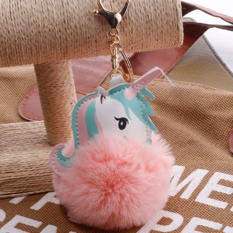 Unicornio imitación Rex conejo bola de pelo llavero dibujos animados PU Pony bolsa colgante de felpa llavero de coche niñas NHDI246829's discount tags