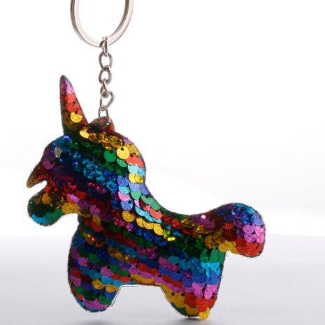 Llavero de lentejuelas con escamas de pescado, llavero de unicornio brillante reflectante de doble cara, monedero para mujer, colgante de pony NHDI246834's discount tags