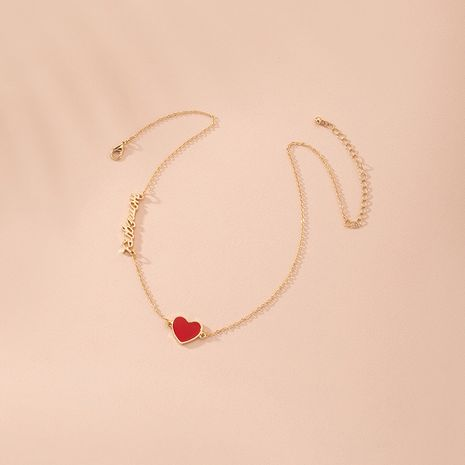new simple heart-shaped love ladies Korean small red heart letter pendant clavicle chain necklace wholesale NHAI246847's discount tags