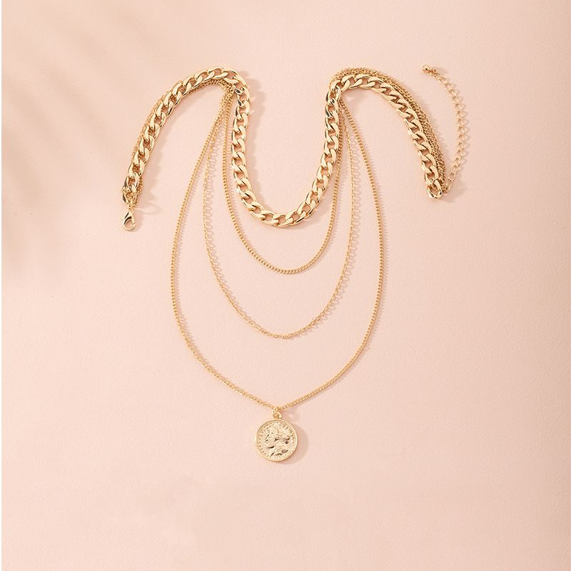 New multilayer collar thick chain pendant choker alloy necklace for women wholesale NHAI246853
