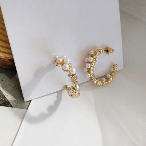 Boucles d'oreilles incrustées de perles en forme de C de niche tout-assorties pour femmes NHXI246892's discount tags