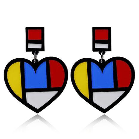heißer Verkauf Acryl herzförmig übertrieben Hipster Farbe Pfirsich Herz Ohrringe Großhandel Nihaojewerly NHXI246915's discount tags