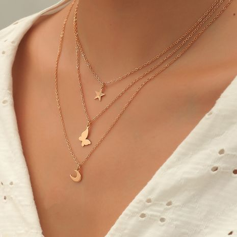 Korea Fashion New Alloy Simple Wild Butterfly Star Moon 3-Piece necklaces Set NHKQ246980's discount tags