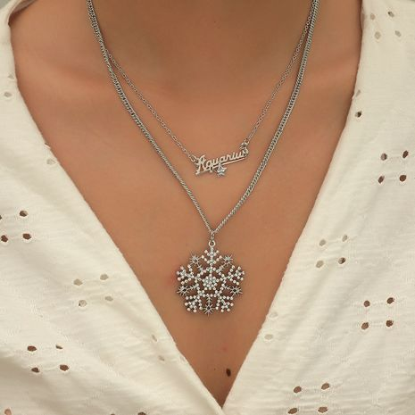 Fashionable Simple Full Diamond Exaggerated letter Hollow Snowflake 2 Piece Set alloy Necklace hot-saling NHKQ246984's discount tags