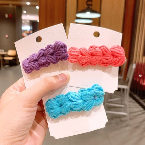 New cute duckbill clip knitted hair clip candy color wool hair accessories wholesale NHSA246999's discount tags