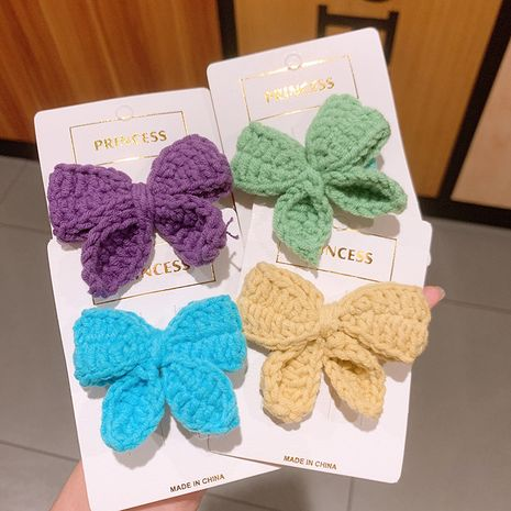 Autumn and winter new retro candy color wool big bow hair rope sweet hair ring wholesale NHSA247000's discount tags