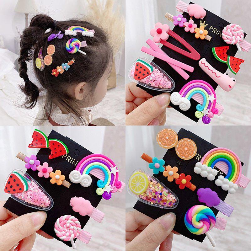 Korean cartoon children hair clip set cute girl rainbow fruit lollipop hairpin set  wholesale NHNA247002