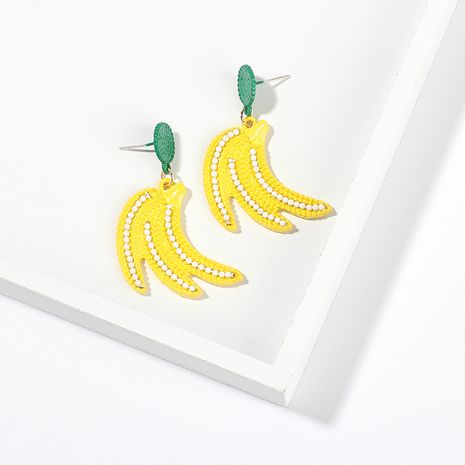 Korea candy color fruit banana strawberry lemon childlike girls alloy earrings NHRN247003's discount tags