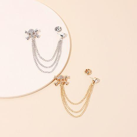 Broche de borla con cadena de calavera super flash de diamante completo NHRN247004's discount tags