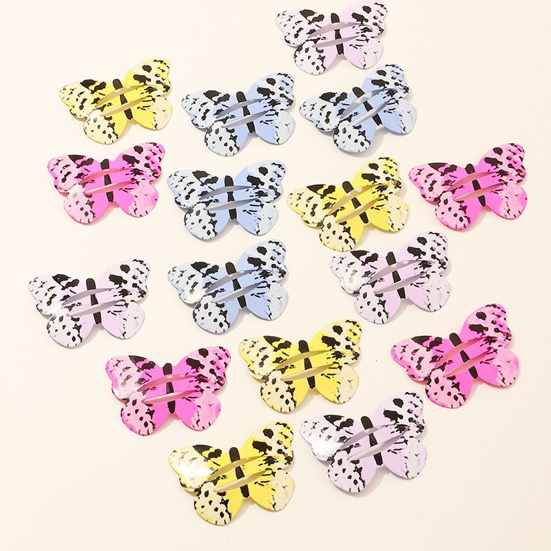 butterfly cute children hairpin printing color paint metal side clip set  NHNU247032