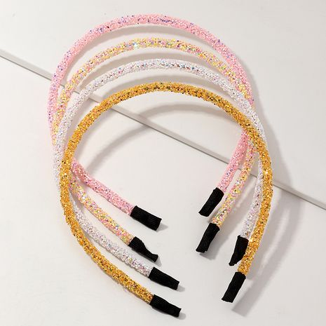 new pink white and yellow color sequins shiny diamond headband wholesale nihaojewerly NHNU247033's discount tags