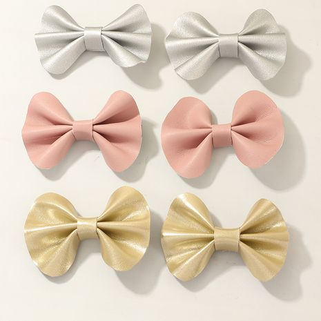 Pure color full PU bowknot  Korean  hair clip set  NHNU247036's discount tags