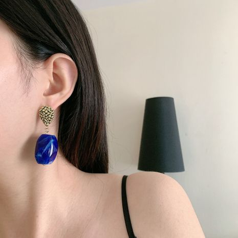 fashion long special-shaped blue pendant earrings NHYQ247047's discount tags