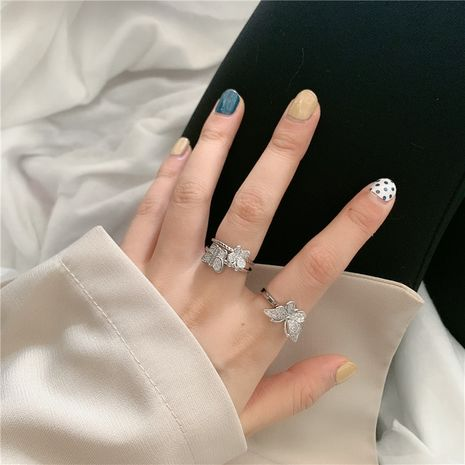 bright zircon micro-inlaid butterfly design sense ring wholesale nihaojewelry NHYQ247051's discount tags