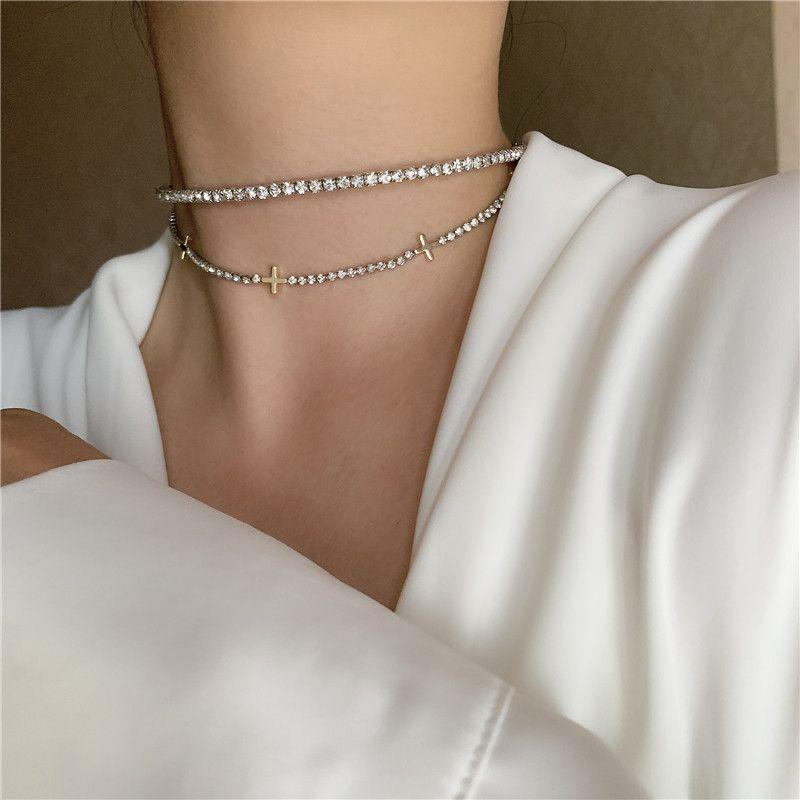 Korean daily minimalist all-match diamond cross stitching clavicle necklace choker NHYQ247052