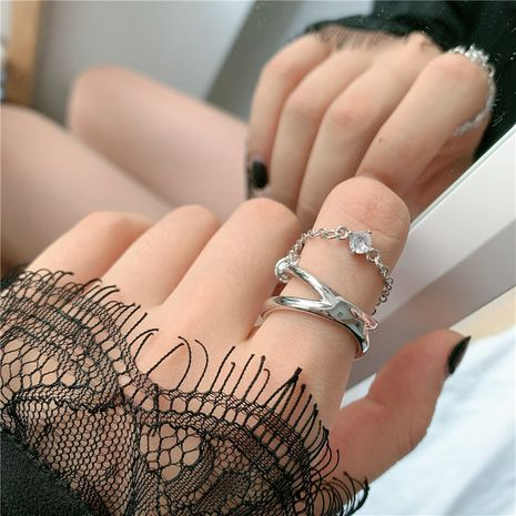 simple silver double-layer chain diamond ring fashionable adjustable middle finger wholesale nihaojewelry NHYQ247053's discount tags