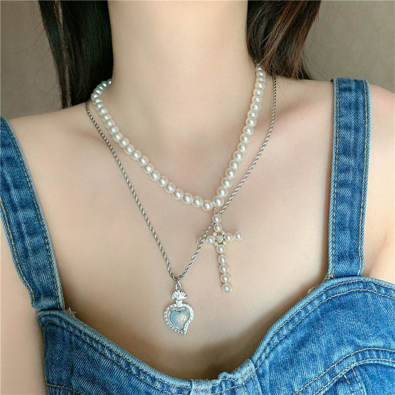 Fashion hip-hop style pearl diamond cross stitching stacking retro clavicle chain necklace for women NHYQ247055