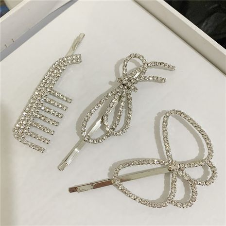 Korean style diamond comb bow hairpin side clip girl headdress wholesale  NHYQ247056's discount tags
