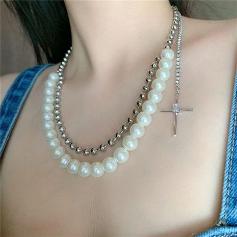 Collar de cadena de clavícula corta de diamantes cruzados con cuentas redondas dobles de perlas retro para mujer NHYQ247059's discount tags