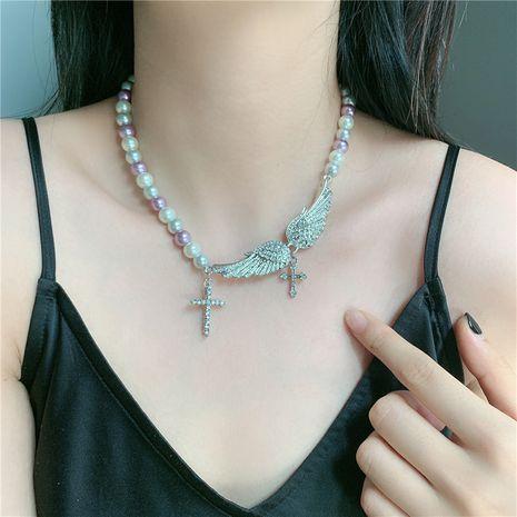 Crystal Universe Collar de perlas Alas de ángel Diamantes de imitación Collar de piedras preciosas de cruz salvaje NHYQ247071's discount tags