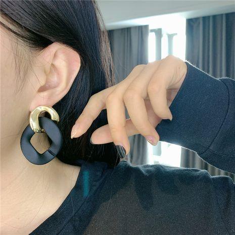 Boucles d'oreilles surpiqûres noires avec chaîne en métal de Corée NHYQ247072's discount tags