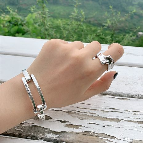 retro old silver bracelet buckle design hollow letter bracelet wholesale NHYQ247075's discount tags