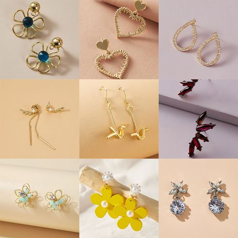fashion  wild love butterfly flower geometric alloy earrings  NHGY247102's discount tags
