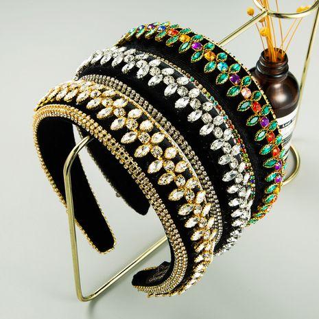 Diadema retro de terciopelo dorado con incrustaciones de diamantes de ala ancha al por mayor nihaojewerly NHLN247105's discount tags