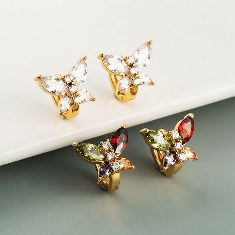Korean new color zircon butterfly earrings fashion versatile shiny earrings wholesale nihaojewerly NHLN247108's discount tags