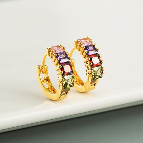 Korean fashion exquisite gold brass inlaid zircon simple earrings wholesale nihaojewerly NHLN247109's discount tags