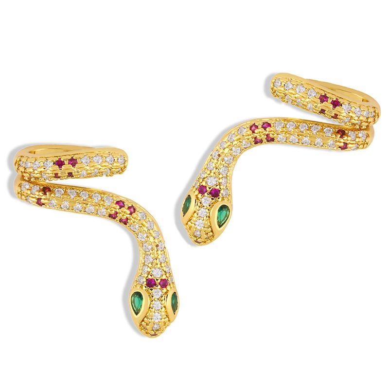 irregular ear bone clip snake-shaped ear clip geometric  hip-hop diamond earrings  NHAS247116