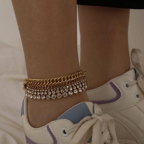 Bracelet de cheville pour femmes micro-incrusté de strass multi-chaînes géométriques de plage sauvage de mode NHXR247135's discount tags