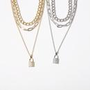 Fashion simple cross chain multilayer micro diamond lockshaped retro alloy womens necklace NHXR247141