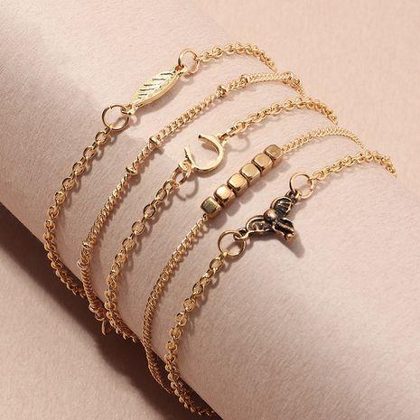 wholesale combinaison de bracelet en forme de U feuille de bijoux de chaîne de gland géométrique simple NHNZ247152's discount tags