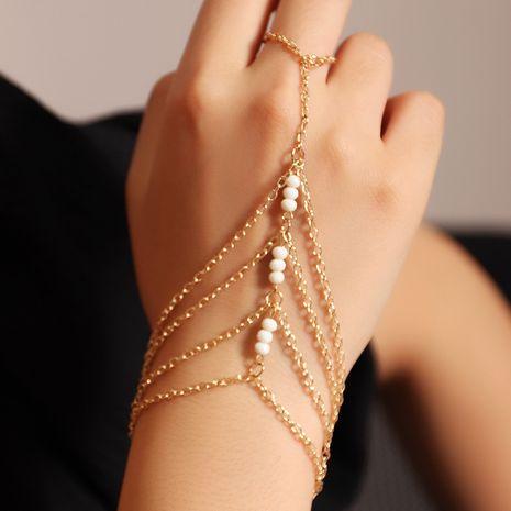 Tendance de la mode or chaîne mince multi-couche doigt un bracelet de perles de riz pour les femmes NHNZ247156's discount tags