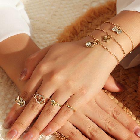 Ensemble de bracelet anneau papillon micro-incrusté d'amour géométrique simple rétro mode NHNZ247162's discount tags