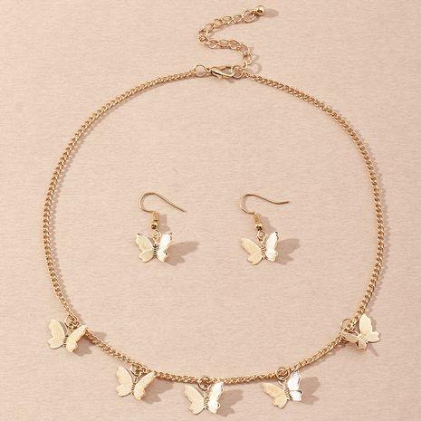 Mode Damen Schmetterling Legierung Ohrringe Halskette Set Großhandel NHNZ247161's discount tags